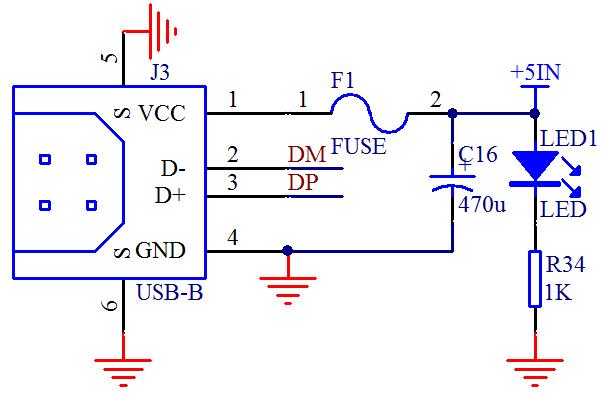 图 2-3  USB 接口电路