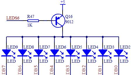 led 小灯局部,就有这个三极管的使用了,图 3-5 的 led 电路中的 q16就