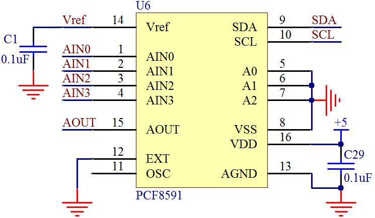 4 路模拟输入,1 路模拟输出和一个串行 i2c 总线接口用来与单片机通信