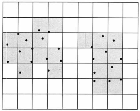 基于网格的聚类算法示意